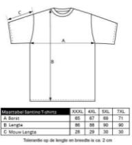 maattabel santino t-shirts bbshirts.nl