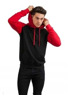 Baseball Hoodie model JH009 Jet-black Fire-red